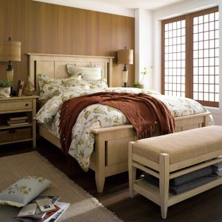 Modern Country-Linen  King Panel Bed (Bed Only) ~Canada 단풍나무로 제작됨~