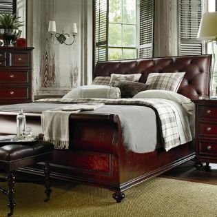 933-13 City Club Saville  Leather Sleigh Bed (침대+협탁+화장대)