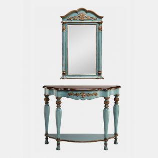 12907 Blue  Demilune Table and Mirror