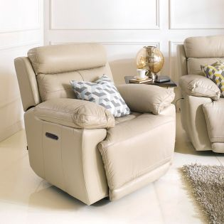 E1460-Taupe Power Leather Recliner Chair