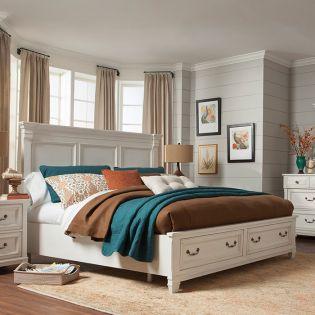 B4056  Panel Queen Bed w/ Storage  (침대+협탁+화장대)