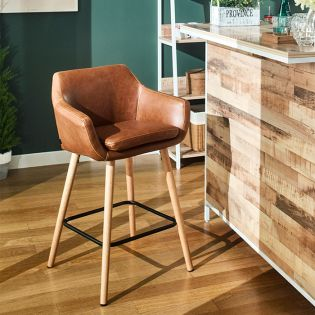 Nora-PU-Counter  Wooden Chair