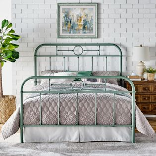 B4104-Green  Metal Queen Bed