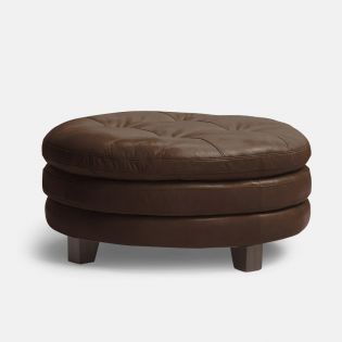 1644-Brown  Leather Ottoman