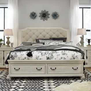 B4436  Complete Sleigh Storage Bed  (침대+협탁+화장대)