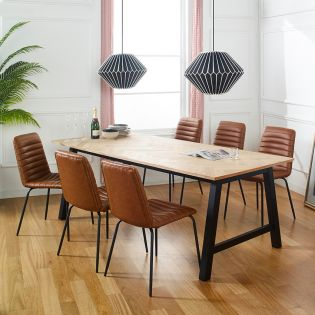 Brighton-6-Brown  Dining Set  (1 Table + 6 Chair)