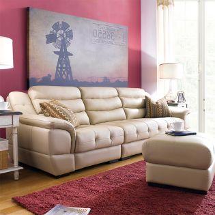 M8001-Beige  Leather Sofa