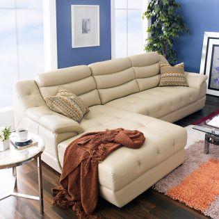 M8001-Beige  Leather Sofa  w/ Chaise -RAF only- (천연가죽)