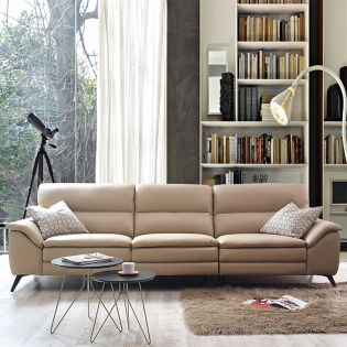 10459 Ivory  4-Seater Leather Sofa