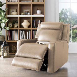 E322 Ivory Leather Recliner Chair