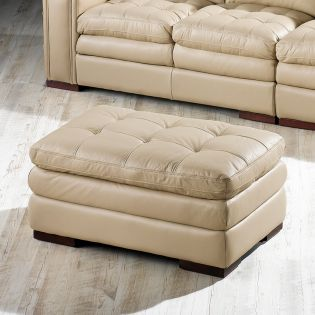 7491-Ivory  Leather Ottoman