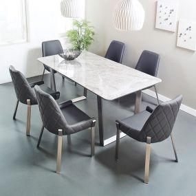 Valencia-6  Ceramic Dining Set  (1 Table + 6 Chairs)