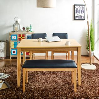 Hoover-4-Natural  Dining Set  (1 Table + 2 Chair + 1 Bench)