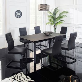 HT90057-6   Extentable Ceramic  Dining Set  (1 Table + 6 Chairs)