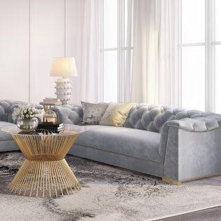 S4930 Farah Grey  Velvet Sofa